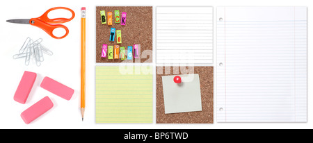 Back to School Student and Office Supplies on a White Background - Stock Photo