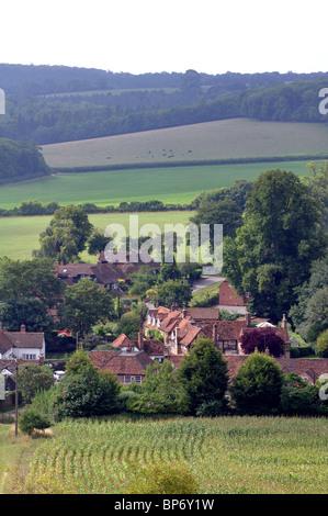 Turville village and Chiltern landscape in summer, Buckinghamshire, England, UK - Stock Photo