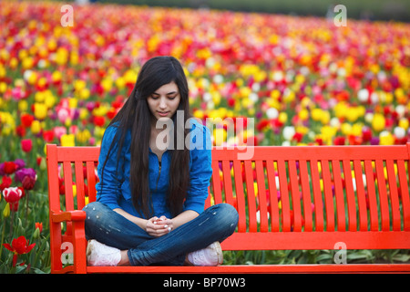 Woodburn, Oregon, United States Of America; A Teenage Girl Sits On A Bench In Front Of A Tulip Field At Wooden Shoe - Stock Photo