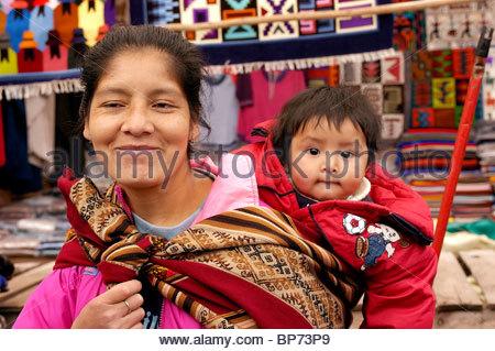 Women And Child In Native Costume Ollantaytambo Peru - Stock Photo