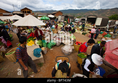 Market day in Shaxi Village, Yunnan Province, China - Stock Photo