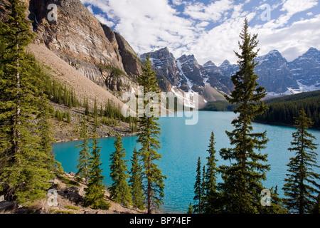Morraine Lake, - famous alpine lake - in Banff National Park, Rockies, Canada - Stock Photo