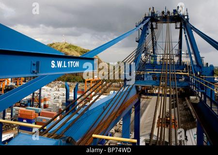 aerial view above crane Balboa Port Panama City - Stock Photo