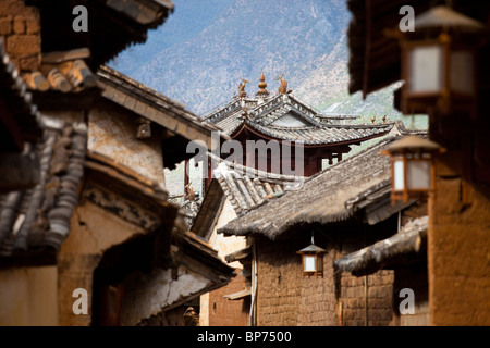 Three Terraced Pavilion in Shaxi Village, Yunnan Province, China - Stock Photo