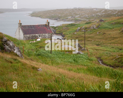 Croft House, Isle of Barra, Scotland - Stock Photo