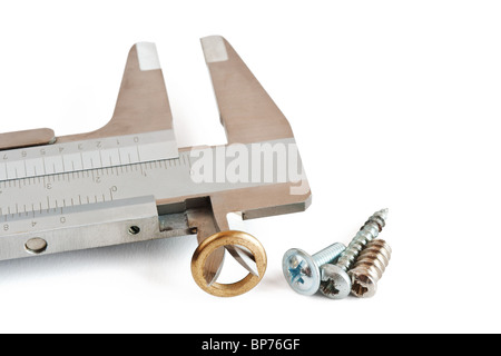 detail of caliper with washer and screws isolated on white background with clipping path - Stock Photo