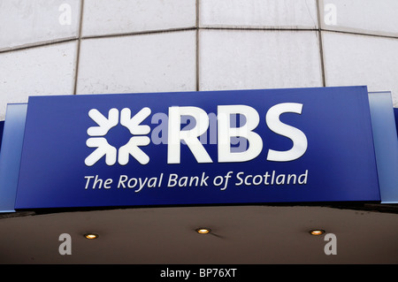RBS The Royal Bank of Scotland sign logo, London, England, UK - Stock Photo