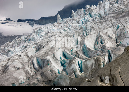 Switzerland, valais, Saas Fee, detail of the Fee-Glacier - Stock Photo