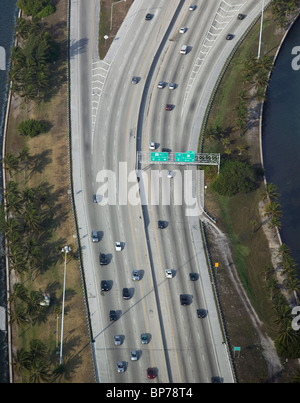 aeria view above freeway exit Miami International Airport Florida - Stock Photo