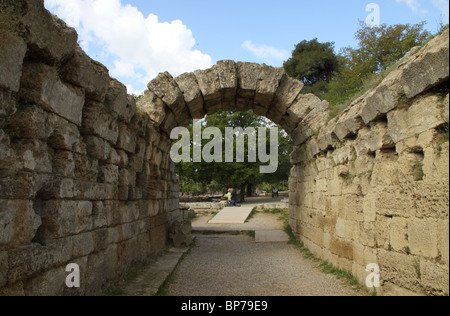 Entrance to the Stadium, Archaeological Site, Ancient Olympia, Ilia, Peloponnese, Greece - Stock Photo