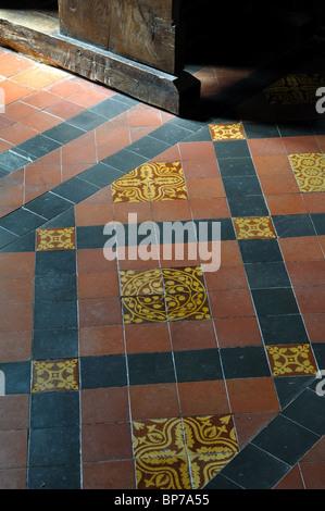 Tiled floor in St. Bartholomew`s Church, Fingest, Buckinghamshire, England, UK - Stock Photo