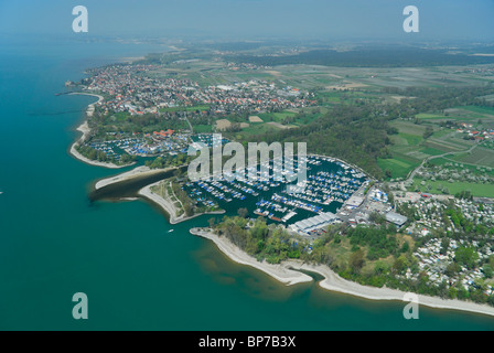 Aerial view of port of Langenargen and Argen river , Constance lake (Bodensee), Baden Württemberg, Germany - Stock Photo