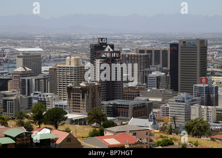 Cape Town city centre business buildings including the highrise LG premises and the FNB bank building - Stock Photo