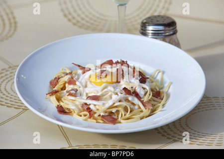 plate of linguine with bacon and fried egg - Stock Photo