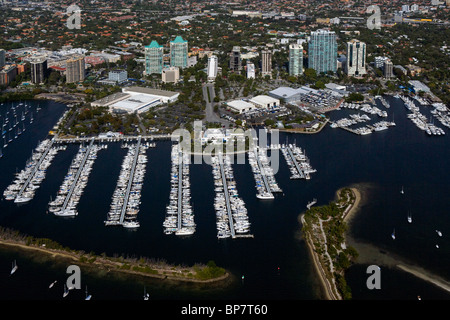 aerial view above marina Dinner Key Coconut Grove Miami Florida - Stock Photo