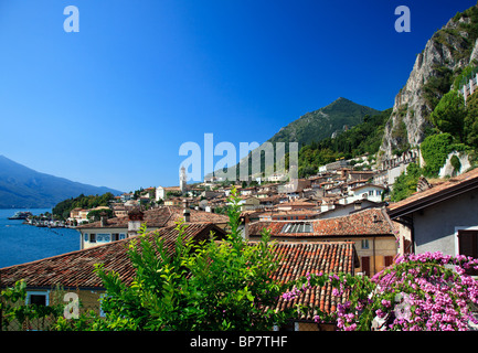 View over Lake Garda, Italy with flowers framing the rooftops of Lake Garda town of Limone in Lake Garda, Lombardy, - Stock Photo