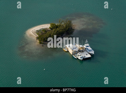 aerial view above boats docked at small island Biscayne Bay Florida - Stock Photo