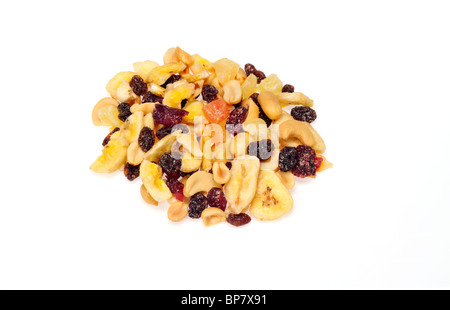 Handful of trail mix snack  isolated on white background cutout. - Stock Photo