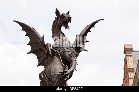 Detail of a Dragon or Gryphon statue marking the entrance to the City of London - Stock Photo