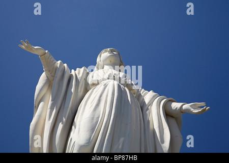 Statue of the Virgin Mary on top of Cerro San Cristobal, Bellavista, Santiago, Chile, South America - Stock Photo