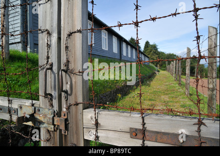 Gate and barracks at Natzweiler-Struthof, only WW2 concentration camp established by Nazis on French territory, - Stock Photo