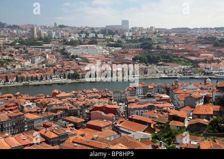 View over Porto and Vila Nova de Gaia, Portugal - Stock Photo