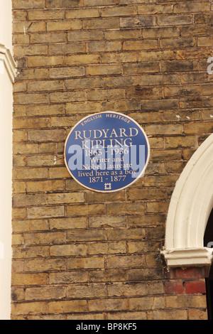 English Heritage Blue Plaque commemorating Rudyard Kipling Portsmouth UK - Stock Photo