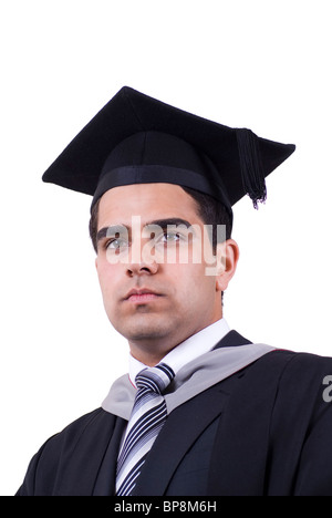 Serious young Asian university graduate looking away - Stock Photo