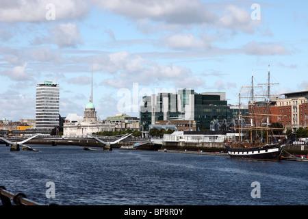 View of Custom House Quay, River Liffey, Dublin, Ireland - Stock Photo