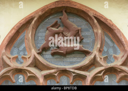 Window of three hares (Drei-Hasen-Fenster)  in the cloister of the Cathedral (Dom), Strasse der Weserrenaissance, - Stock Photo