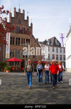 Gothic house at the market place in Xanten, spring, Niederrhein, North Rhine-Westphalia, Germany, Europe - Stock Photo