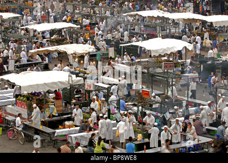 Djemma el Fna square and food courts Marrakesh, Morrocco - Stock Photo