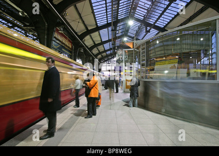 S-Bahn train in Friedrichstrasse station, Berlin - Stock Photo