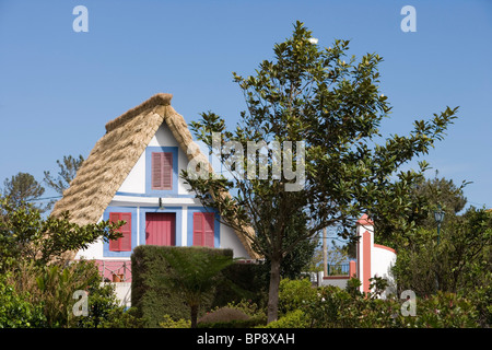Traditional A-framed Palheiro House, Santana, Madeira, Portugal - Stock Photo