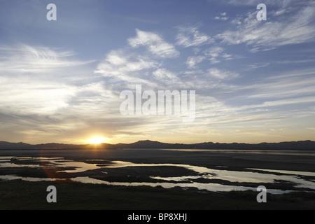 Beautiful Sunset Over Ayeyarwady River. Bagan, Myanmar - Stock Photo