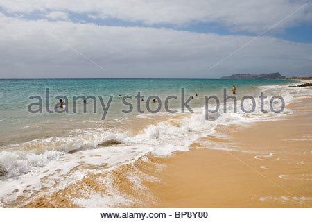 Porto Santo Beach, Vila Baleira, Porto Santo, near Madeira, Portugal - Stock Photo