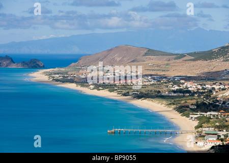 Vila Baleira and Porto Santo Beach seen from Portela, Porto Santo, near Madeira, Portugal - Stock Photo