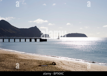 Sailboat, Pier and Porto Santo Beach, Porto Santo, near Madeira, Portugal - Stock Photo