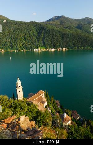Church Santa Maria del Sasso at Lake Lugano, Morcote, Ticino, Switzerland - Stock Photo