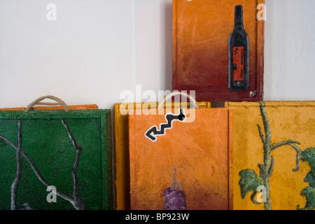 Artful wine boxes in Bodega Jaume Mesquida Winery, Porreres, Mallorca, Balearic Islands, Spain, Europe - Stock Photo