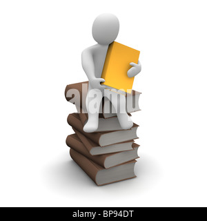 Avid reader sitting on stack of brown hardcover books. 3d rendered illustration. - Stock Photo