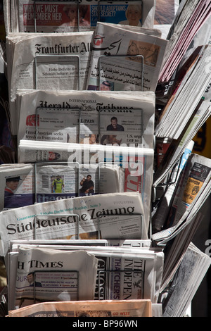 A stand with international newspapers - Stock Photo