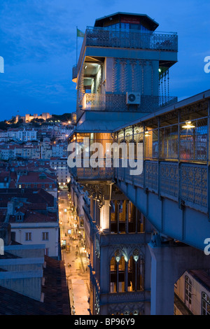 Elevador de Santa Justa and castle of Sao Jorge, St. George's Castle at Night, Lisbon, Lisboa, Portugal, Europe - Stock Photo