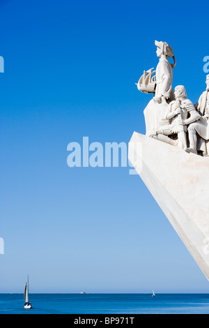 Discoveries Monument, Padrao dos Descobrimentos with sailing boats on the Tagus River, Belem, Lisbon, Lisboa, Portugal, - Stock Photo