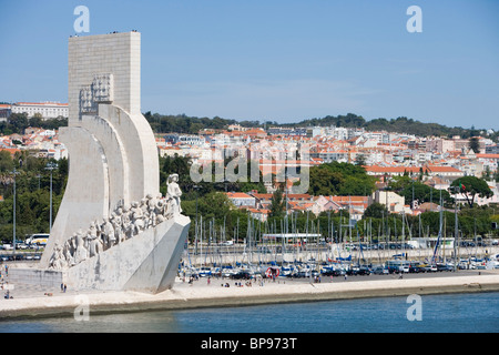 Discoveries Monument, Padrao dos Descobrimentos; Marina seen from the Tagus River, Lisbon, Lisboa, Portugal - Stock Photo