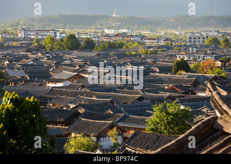 Rooftop view of the old town in Lijiang, Yunnan Province, China - Stock Photo