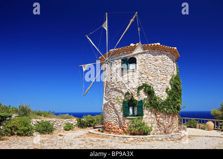 Windmill on Zakynthos island, Greece - Stock Photo