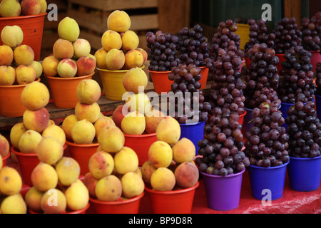 Fruit and vegetables on sale in the municipal market in San Cristobal de Las Casas in Chiapas in Mexico - Stock Photo