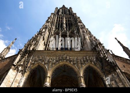 The steeple of Ulm Minster (Ulmer Muenster) in Ulm, Germany.