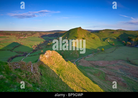 Looking back towards Chrome Hill seen here from the top of Parkhouse Hill in the Peak District National Park - Stock Photo